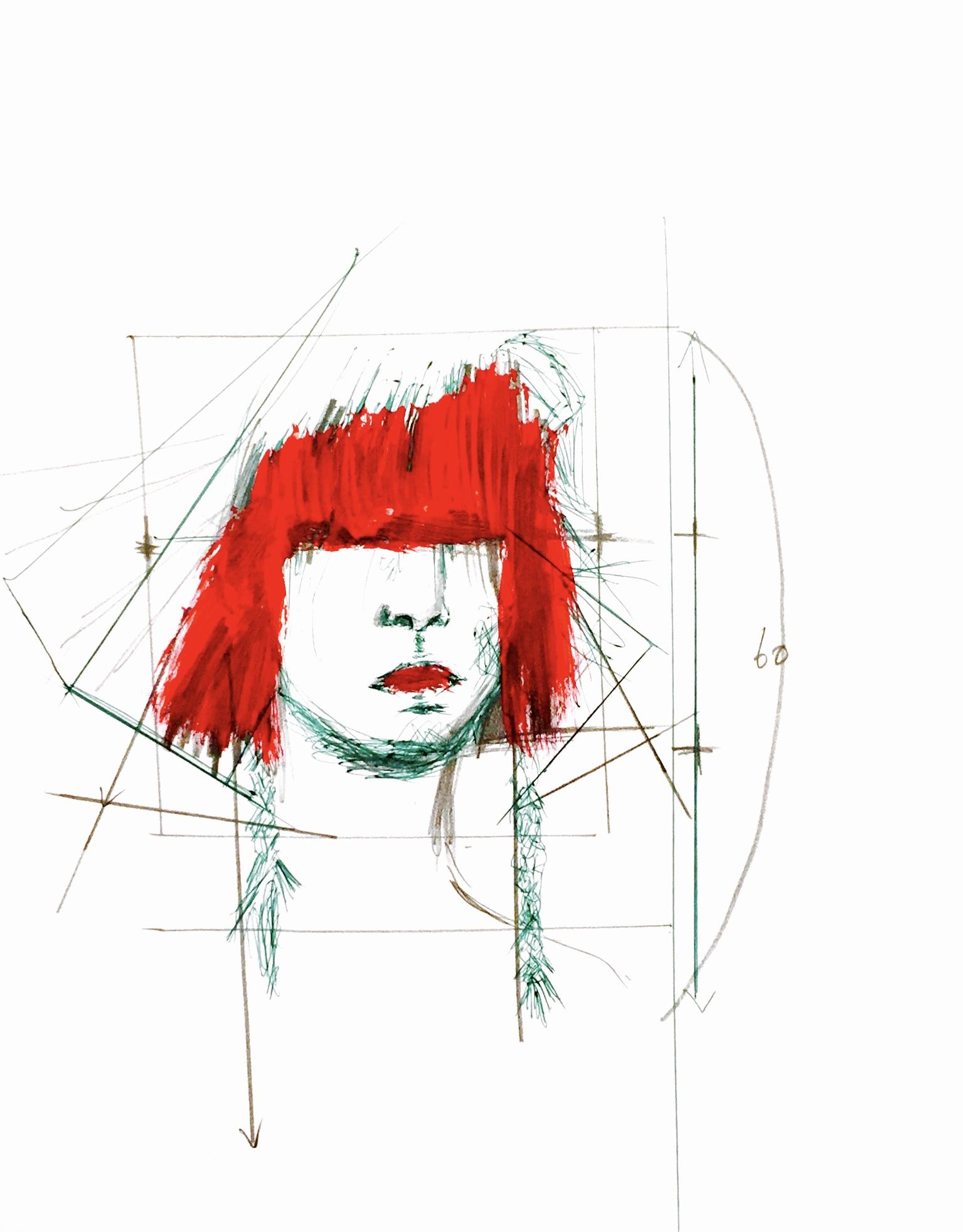 赤髪三つ編みボブ